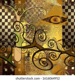 Seamless pattern in the style of Klimt. Suitable for fabric, wrapping paper and the like