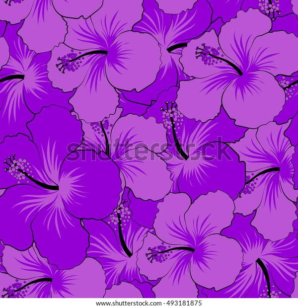 Seamless pattern of stylized floral motif, flowers, hole, spots, doodles. Hibiscus flowers in violet colors. Hand drawn. Seamless floral background.