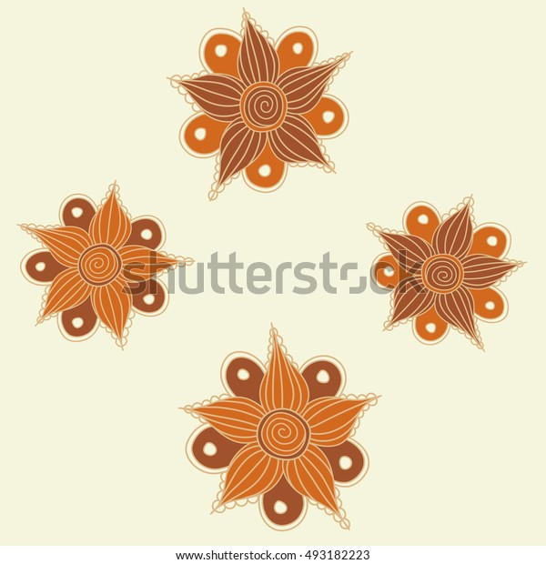 Seamless pattern of stylized floral motif, flowers, hole, spots, doodles on beige background. Hand drawn. Seamless floral background.