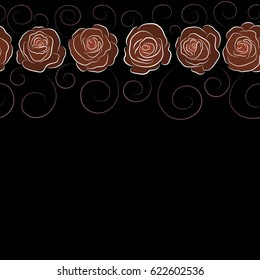 Seamless pattern of stylized purple and brown roses with copy space (place for your text). Horizontal rose watercolor flower illustration.