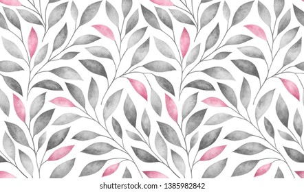 Seamless pattern with stylized tree branches. Watercolor hand drawn illustration.