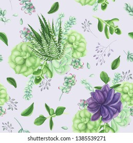 Seamless pattern with Succulents and air-plants illustration, watercolor painting. Echeveria watercolor illustration, botanical painting. For design cards and textile.