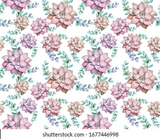 Seamless pattern of succulents and eucalyptus. Watercolor plants on a white background in a chaotic manner. For factories, textiles, design of botanical packaging, stationery, postcards.
