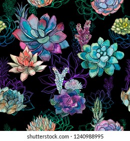 Seamless pattern with succulents on black background. Graphics. Watercolor
