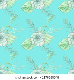 Seamless Pattern. Succulents and Provence herbs background.