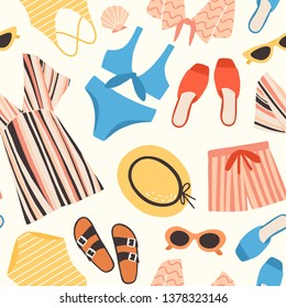 5f856979f3 Seamless pattern with summer clothes and accessories on white background -  sunglasses, shorts, straw