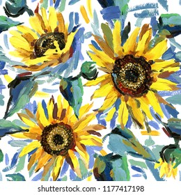 Seamless pattern with sunflowers. impressionism painting background. summer field watercolor illustration