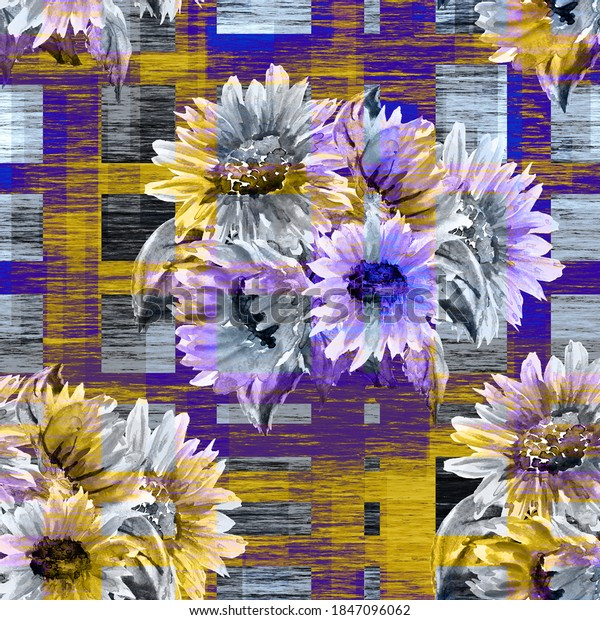 Seamless  pattern sunflowers. Watercolor illustration