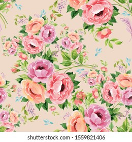 Seamless pattern for the surface of beautiful bouquets of roses drawn by paint on paper. Background of delicate bouquets for design and textile decor.