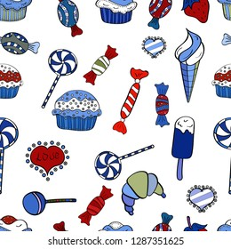 Seamless pattern with sweet Cupcakes pattern. Nice birthday background on blue, white and black. Sweets background design.
