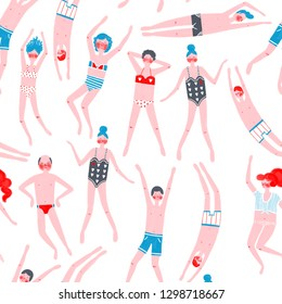 Seamless pattern of swimmers. Men and women in swimsuits.