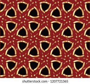 Seamless pattern with symmetric geometric ornament. Ornamental mosaic texture. Kaleidoscope abstract background.