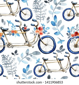 Seamless pattern with tandem bicycle. Blue weels. Bouquets of red rose flowers, blue leaves.