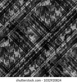 Seamless pattern tartan design. Creative background with stripes, houndstooth elements and watercolor effect. Textile print for bed linen, jacket, package design, fabric and fashion concepts.