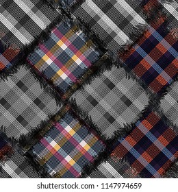 Seamless pattern tartan design. Creative background with stripes and watercolor effect. Textile print for bed linen, jacket, package design, fabric and fashion concepts.