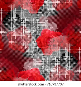 Seamless pattern tartan design. Creative background with red roses, stripes and watercolor effect. Textile print for bed linen, jacket, package design, fabric and fashion concepts.