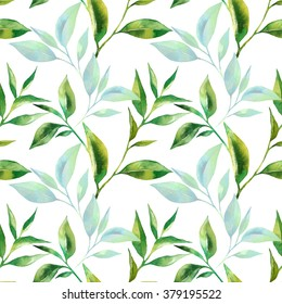 seamless pattern with tea leaves watercolor