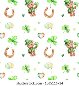 Seamless pattern with teddy bear in green hat, shamrocks, ballons, irish flag and green hearts; watercolor hand draw illustration; can be used for St.Parick's day; with white isolated background