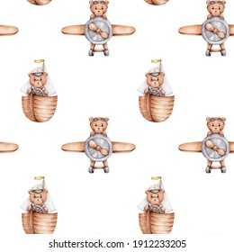 Seamless pattern with teddy bear in ship and in airplane; watercolor hand drawn illustration; can be used for baby shower or cards; with white isolated background