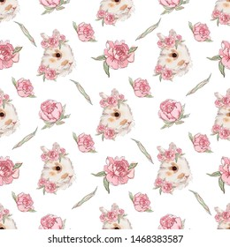 Seamless pattern with tender rabbits heads decorated with pink roses on white background