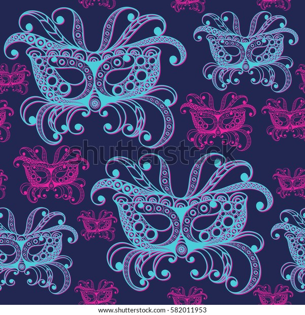 Seamless pattern (texture) with abstract decorative mask (symbol of the carnival in Venice). Suitable for design: fabric, cloth, wallpaper, wrapping, packaging.