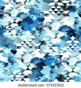 c92af092 Seamless pattern tie-dye design with navajo triangles. Indigo background  with watercolor effect.