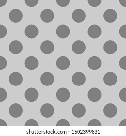 Seamless pattern with tile black polka dots on grey background