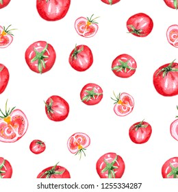 Seamless pattern with tomato. Tomato slices isolated on white background. Hand drawn watercolor painting