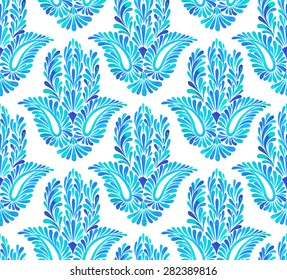 seamless pattern with traditional hamsa element. Middle eastern amulet decoration, oriental icon for luck and success. Watercolor illustration of paisley floral ornaments.