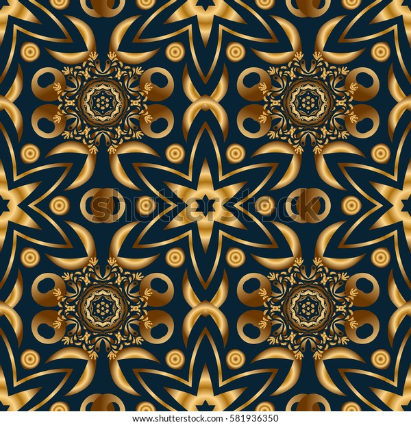 Seamless pattern of traditional ornamental background with golden circular mandala, stars and snowflakes elsments on a blue backdrop.