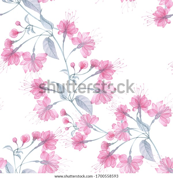 Seamless pattern transparent rose flowers and Apple blossoms on a white background, pink roses, x-ray flowers, pink Sakura flowers, lilac and blue stems and leaves, floral pattern printing Wallpaper