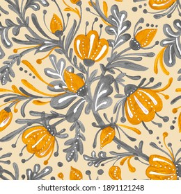 Seamless pattern in trending colors of 2021. Yellow flowers and buds and gray foliage. Pattren is great for textiles and wallpapers.