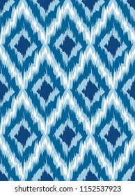 Seamless pattern Tribal Art Ikat Ogee in traditional classic blue and white colors. Boho style. Raster copy