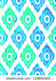 Seamless pattern Tribal Art Ikat Ogee in traditional classic colors. Raster copy