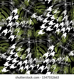 Seamless pattern tropic design. Surf background with monstera leaves, houndstooth, tartan lines and watercolor effect. Textile print for bed linen, jacket, package design, fabric and fashion concepts.