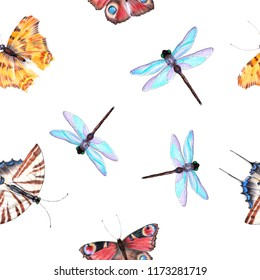 Seamless pattern tropical butterfly on white background.
