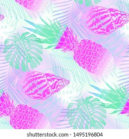 Seamless pattern tropical design. Background with gradient monstera, fern leaves, pineapples, seashells and watercolor effect. Textile print for bed linen, jacket, package design, fabric and fashion.