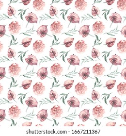 Seamless pattern tropical flowers anthurium and leaves. Jungle design textile, wallpaper.