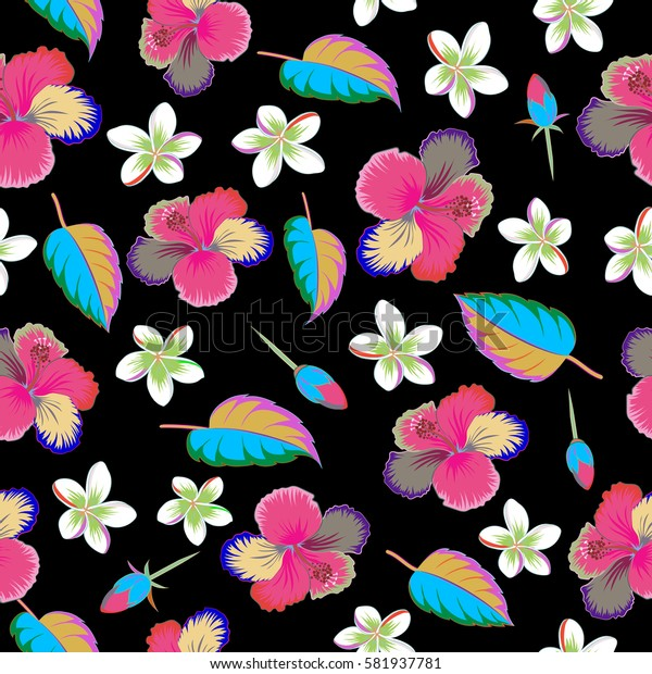 Seamless pattern of tropical flowers, multicolor hibiscus on a black background, dense jungle. Hand drawn. Pattern with tropic summertime motif may be used as texture, wrapping paper or textile design