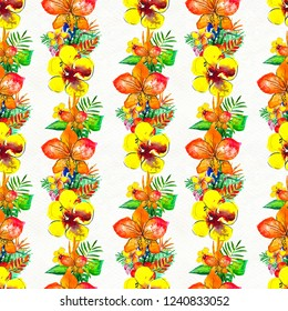 Seamless pattern With Tropical Flowers. Watercolor Background. Floral garland Hand Painted colorful illustration.