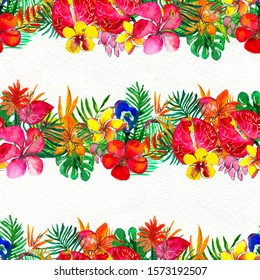 Seamless pattern With Tropical Flowers. Watercolor Background. Floral Hand Painted colorful illustration.