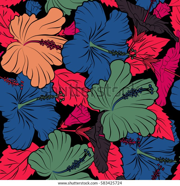 Seamless pattern with tropical flowers in watercolor style. Hibiscus in red, purple and orange colors on a black background.