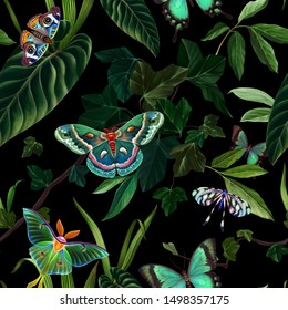Seamless pattern. Tropical forest. Exotic butterflies and moths. Realistic botanical illustration. Color trend palette. Eden. Shade of green. Fashion color.