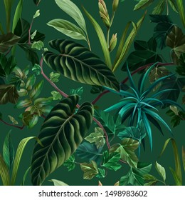 Seamless pattern. Tropical forest. Rainforest. Exotic plants. Branches and leaves. Realistic botanical illustration. Color trend palette. Eden. Shade of green. Fashion color.