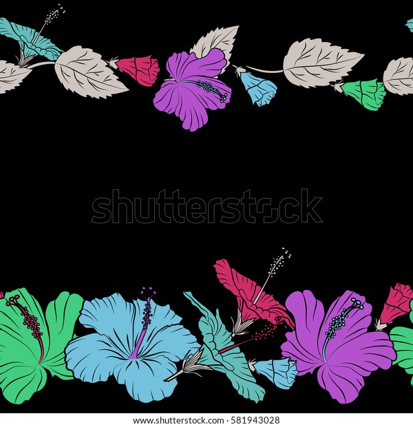 Seamless pattern of tropical hibiscus flowers horizontal with copy space (place for your text) in blue and violet colors and watercolor effect.