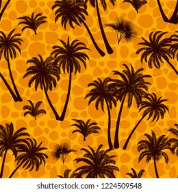 Seamless Pattern, Tropical Landscape, Palms Trees and Exotic Plants Black Silhouettes on Abstract Tile Background.