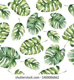 Seamless pattern from tropical leaves. Monstera. Watercolor painting. Pattern with  tropical leaves Isolated on white background may be used as background texture, wrapping paper, textile or wallpaper