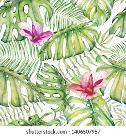Seamless pattern with tropical leaves. Monstera and palm jungle print. Magnificent green palm tree leaves and flovers. Fashion vintage Hawaiian backdrop. Jungle floral tropical print.