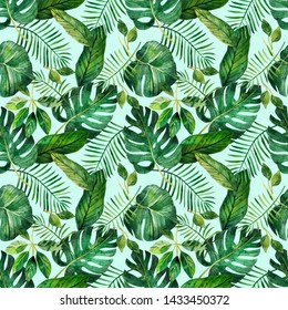 A seamless pattern with tropical leaves on a white  background, perfect for scrapbooking and gift wrapping, also suitable for prints on clothes. Hand-drawn watercolor on paper - digital clipart.