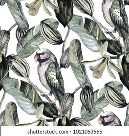 Seamless pattern with tropical leaves. watercolor background with banana leaves